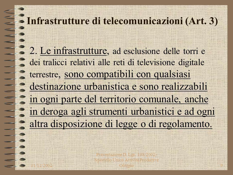 01/12/2002 Presentazione D. Lgs. 198/2002 - Sportello Unico Attività Produttive Oleggio8 Infrastrutture di telecomunicazioni (Art. 3) 1. Le infrastrut