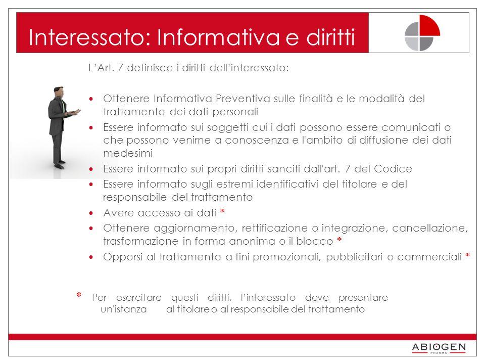 Interessato: Informativa e diritti L'Art.