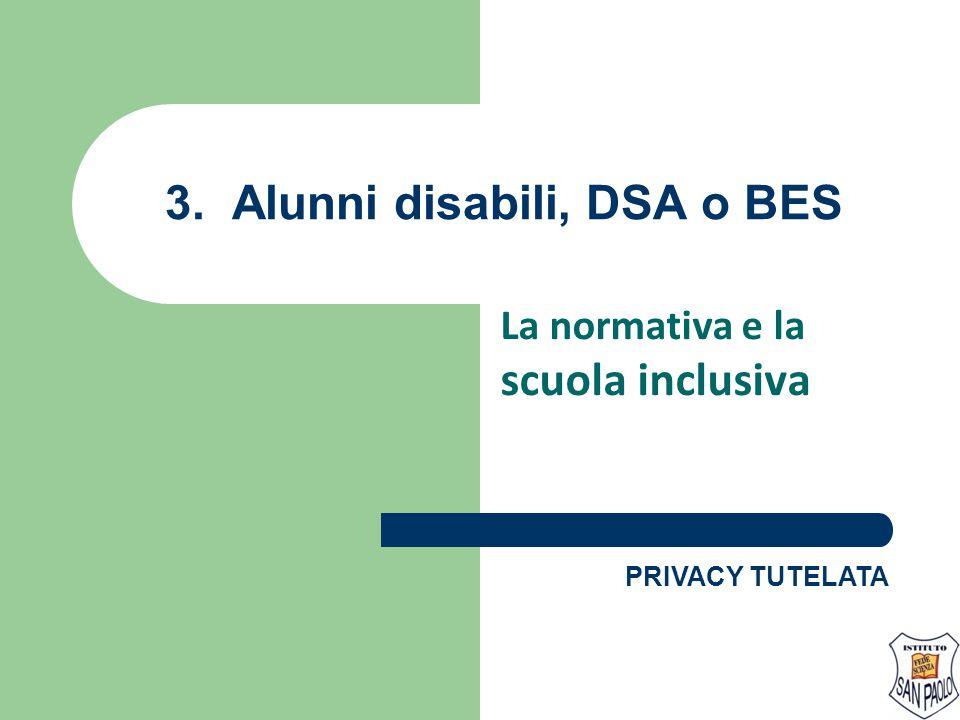 3. Alunni disabili, DSA o BES La normativa e la scuola inclusiva PRIVACY TUTELATA