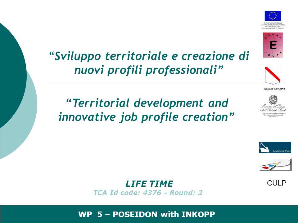 CULP 1 Regione Campania WP 5 – POSEIDON with INKOPP Sviluppo territoriale e creazione di nuovi profili professionali Territorial development and innovative job profile creation LIFE TIME TCA Id code: 4376 - Round: 2