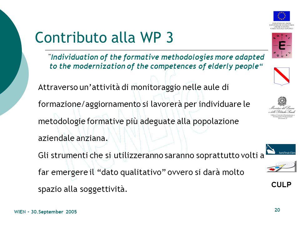 CULP WIEN - 30.September 2005 19 Bilancio delle competenze Sarà effettuato, dove possibile, il bilancio e la messa in trasparenza delle competenze del