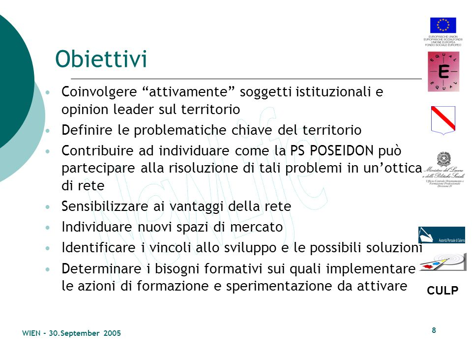 CULP WIEN - 30.September 2005 7 Strategie Gli assi strategici e metodologici lungo i quali si sviluppa la WP sono quelli di: Promozione di azioni che