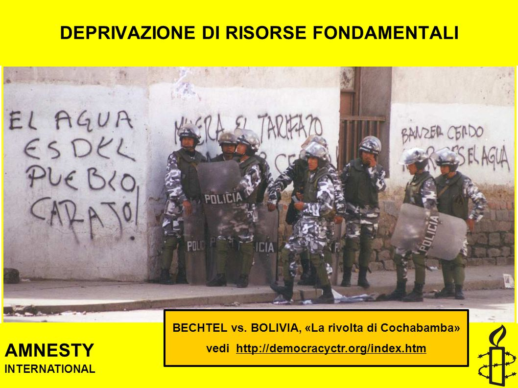 DEPRIVAZIONE DI RISORSE FONDAMENTALI AMNESTY INTERNATIONAL BECHTEL vs.