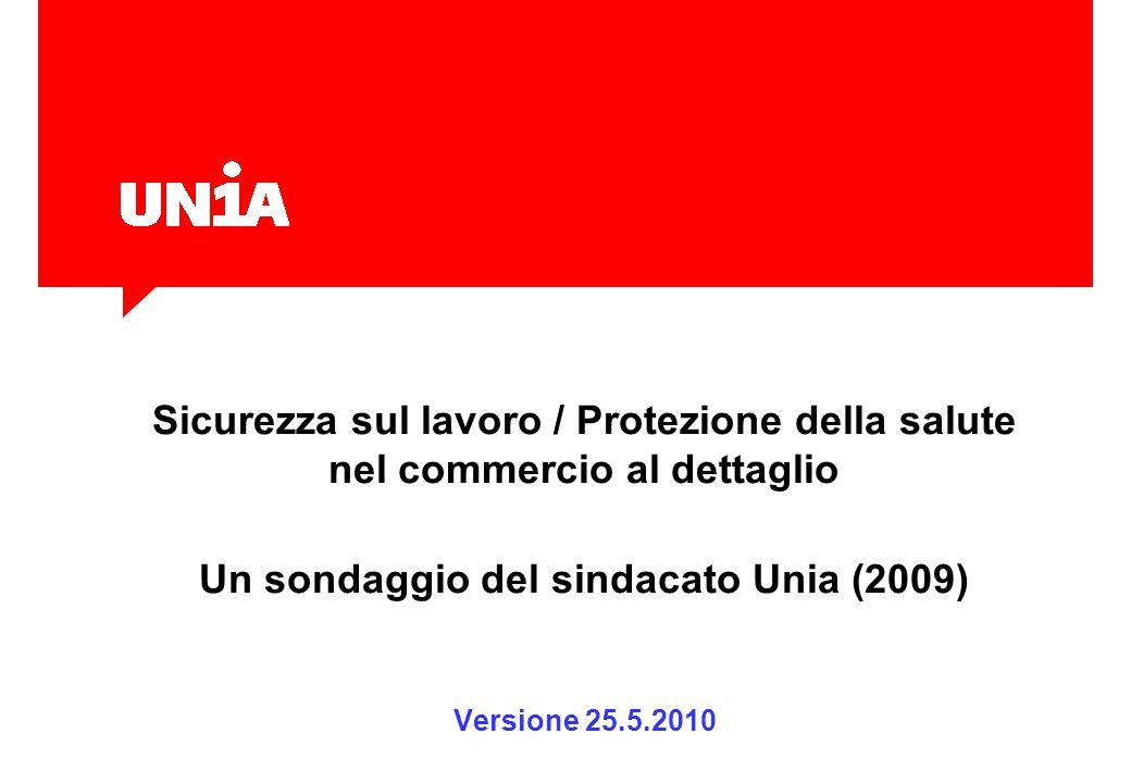 Sicurezza sul lavoro / Protezione della salute nel commercio al dettaglio Un sondaggio del sindacato Unia (2009) Versione 25.5.2010