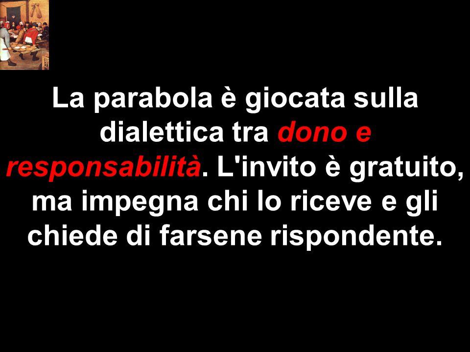 La parabola è giocata sulla dialettica tra dono e responsabilità. L'invito è gratuito, ma impegna chi lo riceve e gli chiede di farsene rispondente.