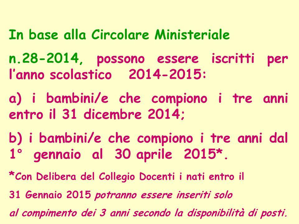 In base alla Circolare Ministeriale n.28-2014, possono essere iscritti per l'anno scolastico 2014-2015: a) i bambini/e che compiono i tre anni entro i
