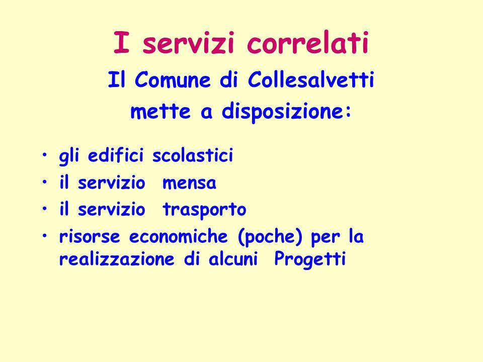 I servizi correlati Il Comune di Collesalvetti mette a disposizione: gli edifici scolastici il servizio mensa il servizio trasporto risorse economiche