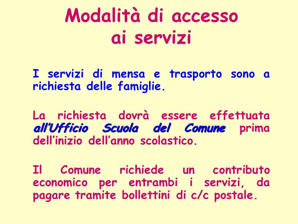 I servizi di mensa e trasporto sono a richiesta delle famiglie. all'Ufficio Scuola del Comune La richiesta dovrà essere effettuata all'Ufficio Scuola