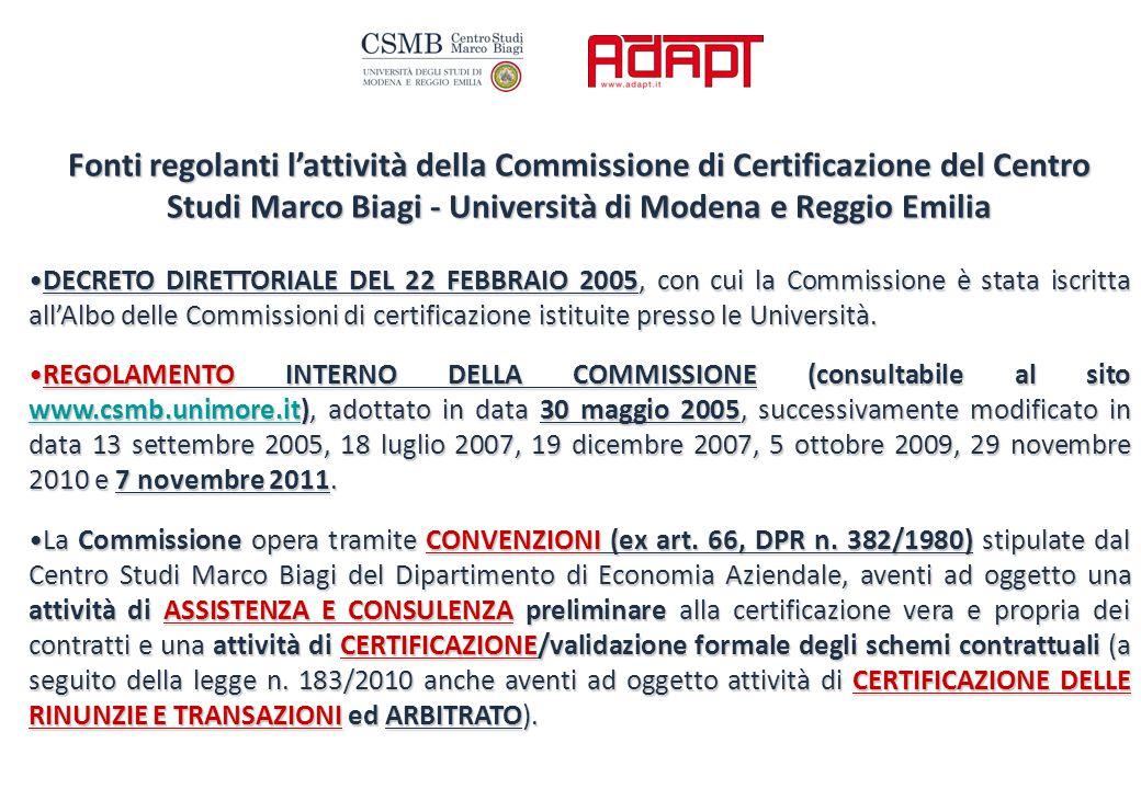 Fonti regolanti l'attività della Commissione di Certificazione del Centro Studi Marco Biagi - Università di Modena e Reggio Emilia DECRETO DIRETTORIALE DEL 22 FEBBRAIO 2005, con cui la Commissione è stata iscritta all'Albo delle Commissioni di certificazione istituite presso le Università.DECRETO DIRETTORIALE DEL 22 FEBBRAIO 2005, con cui la Commissione è stata iscritta all'Albo delle Commissioni di certificazione istituite presso le Università.