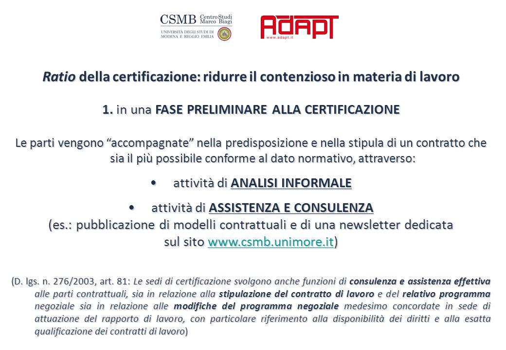 Ratio della certificazione: ridurre il contenzioso in materia di lavoro 1.