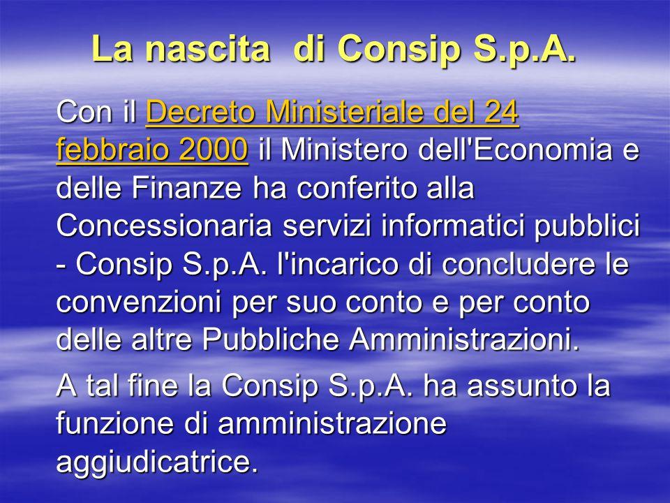 La nascita di Consip S.p.A.