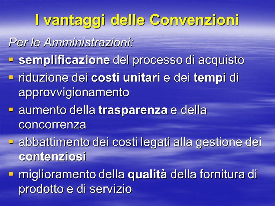 I vantaggi delle Convenzioni Per i Fornitori:  accesso al mercato della P.A.