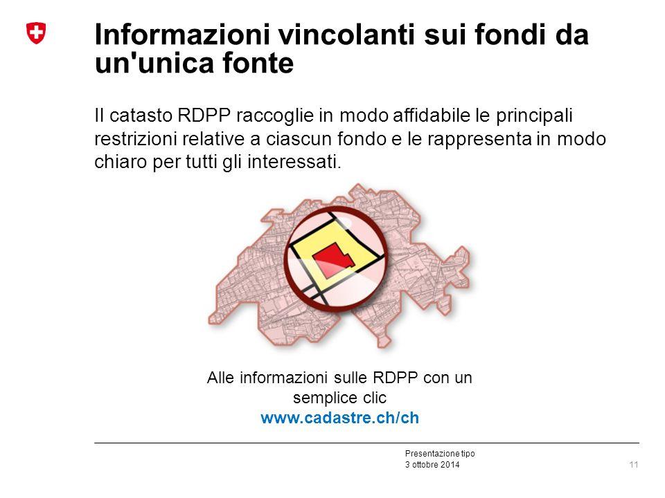 Presentazione tipo 3 ottobre 2014 Informazioni vincolanti sui fondi da un unica fonte Il catasto RDPP raccoglie in modo affidabile le principali restrizioni relative a ciascun fondo e le rappresenta in modo chiaro per tutti gli interessati.