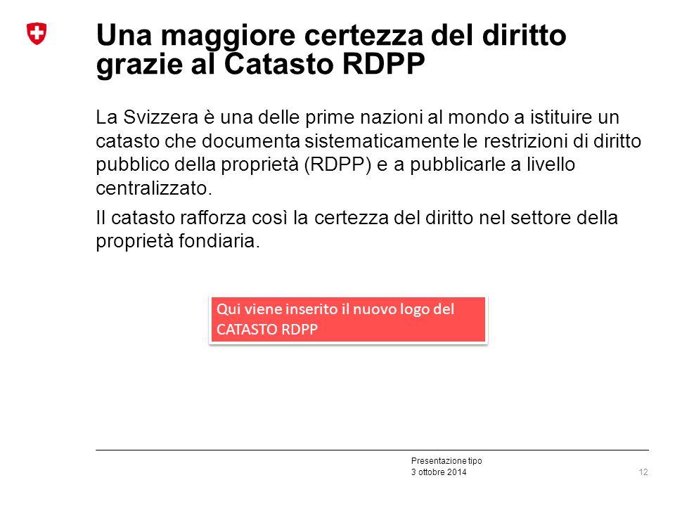 Presentazione tipo 3 ottobre 2014 Una maggiore certezza del diritto grazie al Catasto RDPP La Svizzera è una delle prime nazioni al mondo a istituire un catasto che documenta sistematicamente le restrizioni di diritto pubblico della proprietà (RDPP) e a pubblicarle a livello centralizzato.