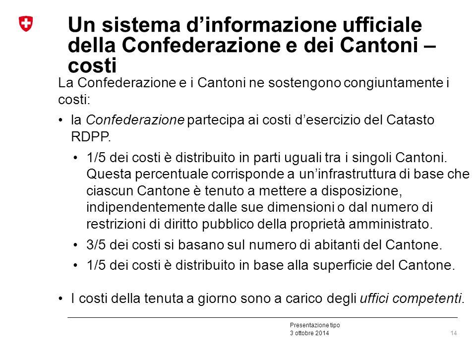 Presentazione tipo 3 ottobre 2014 Un sistema d'informazione ufficiale della Confederazione e dei Cantoni – costi La Confederazione e i Cantoni ne sostengono congiuntamente i costi: la Confederazione partecipa ai costi d'esercizio del Catasto RDPP.