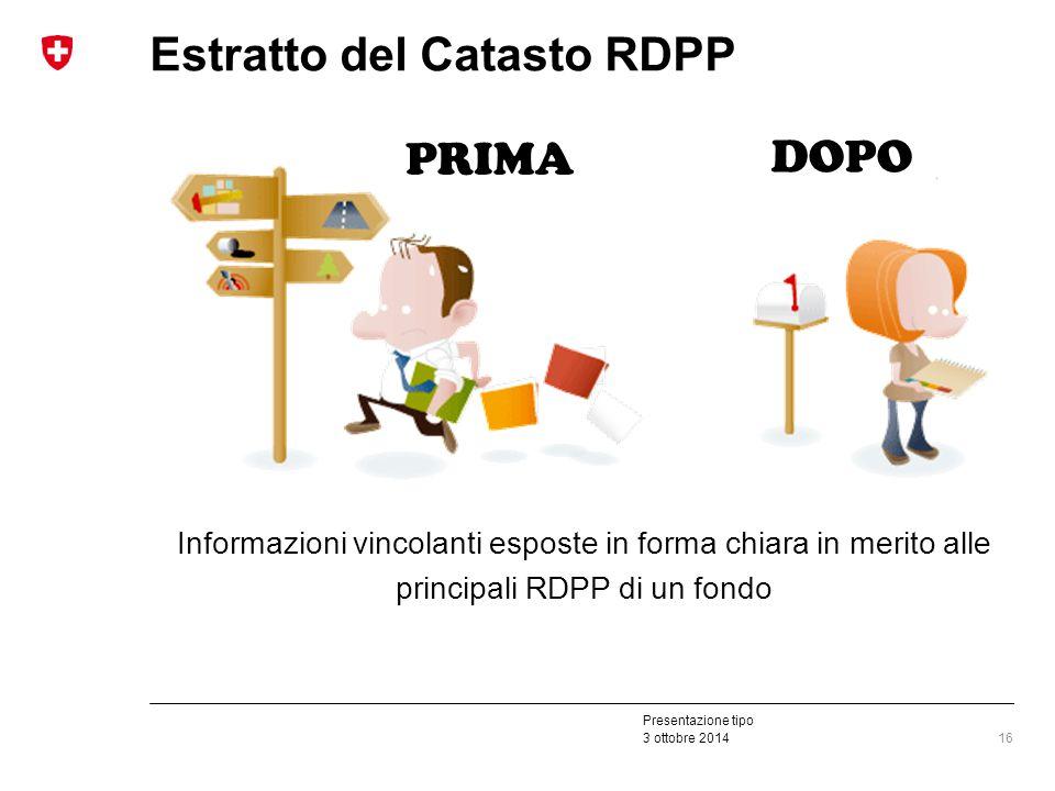 Presentazione tipo 3 ottobre 2014 Estratto del Catasto RDPP 16 Informazioni vincolanti esposte in forma chiara in merito alle principali RDPP di un fondo PRIMA DOPO