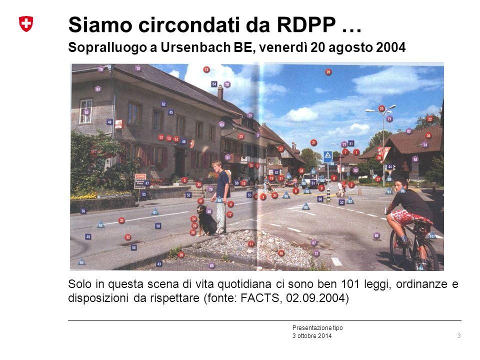 Presentazione tipo 3 ottobre 2014 Siamo circondati da RDPP … Sopralluogo a Ursenbach BE, venerdì 20 agosto 2004 Solo in questa scena di vita quotidiana ci sono ben 101 leggi, ordinanze e disposizioni da rispettare (fonte: FACTS, 02.09.2004) 3