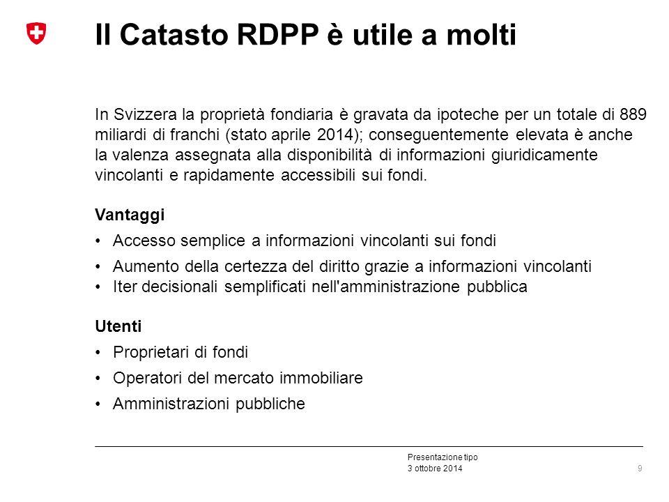 Presentazione tipo 3 ottobre 2014 Il Catasto RDPP è utile a molti In Svizzera la proprietà fondiaria è gravata da ipoteche per un totale di 889 miliardi di franchi (stato aprile 2014); conseguentemente elevata è anche la valenza assegnata alla disponibilità di informazioni giuridicamente vincolanti e rapidamente accessibili sui fondi.
