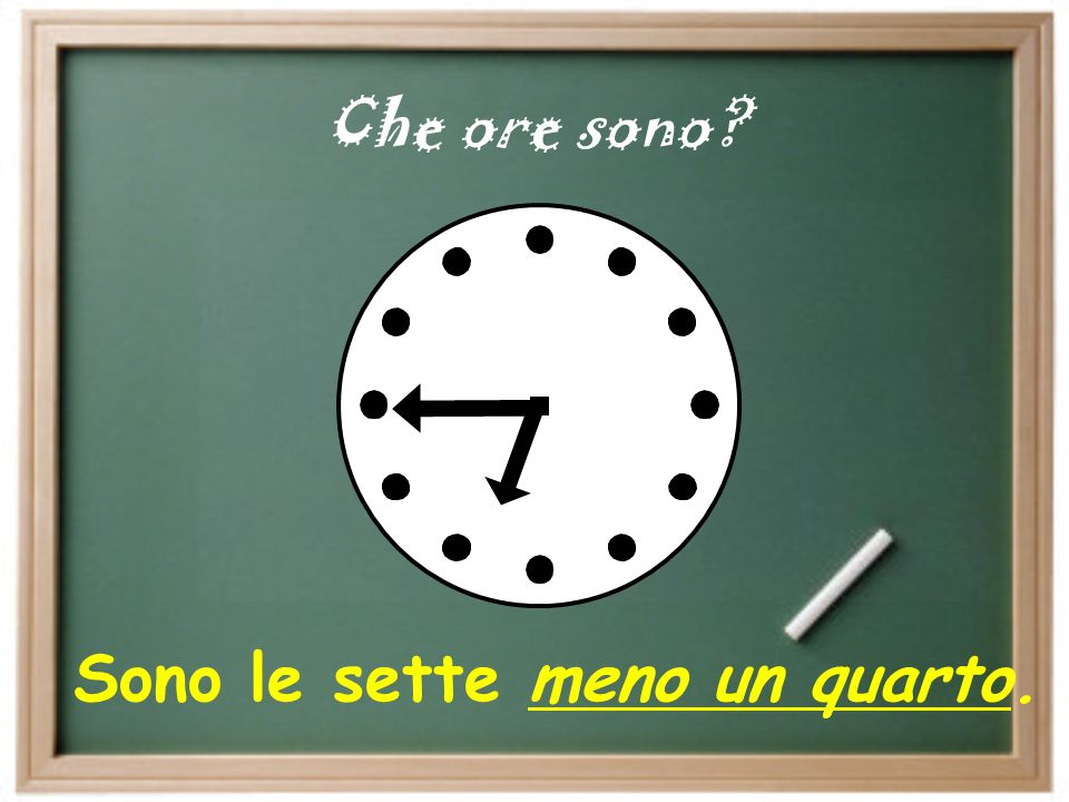 " for a quarter before hr. we say:  ""…meno un quarto "" Ex: Sono le cinque meno un quarto. = 4:45 Ex: È l'una meno un quarto. = 12:45 Ex: Sono le dodi"