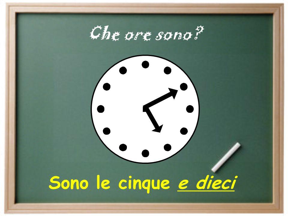 5:30 pm 1. 6:15 am 2. 8:40 pm 3. 12:00 am 4. 9:45 am 5. 1:25 pm 6. Che ore sono?