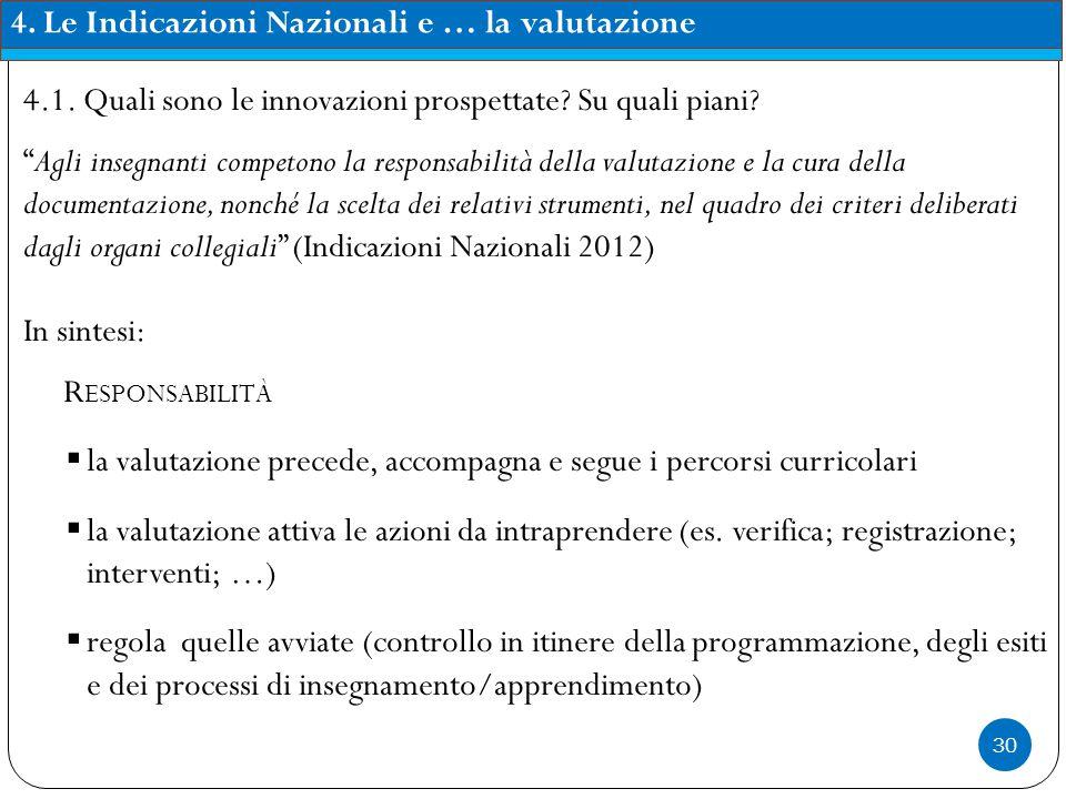 30 4.Le Indicazioni Nazionali e … la valutazione 4.1.