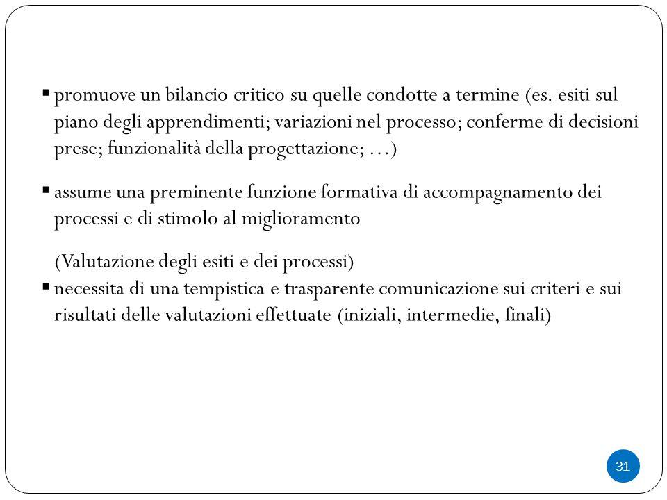 31  promuove un bilancio critico su quelle condotte a termine (es.
