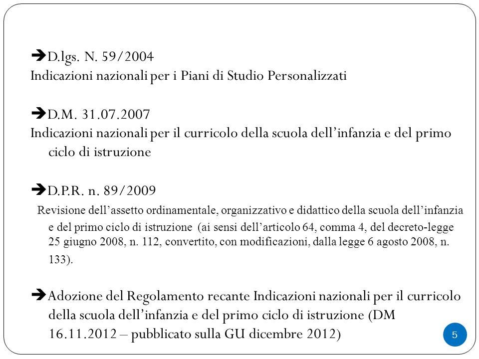 5  D.lgs.N. 59/2004 Indicazioni nazionali per i Piani di Studio Personalizzati  D.M.