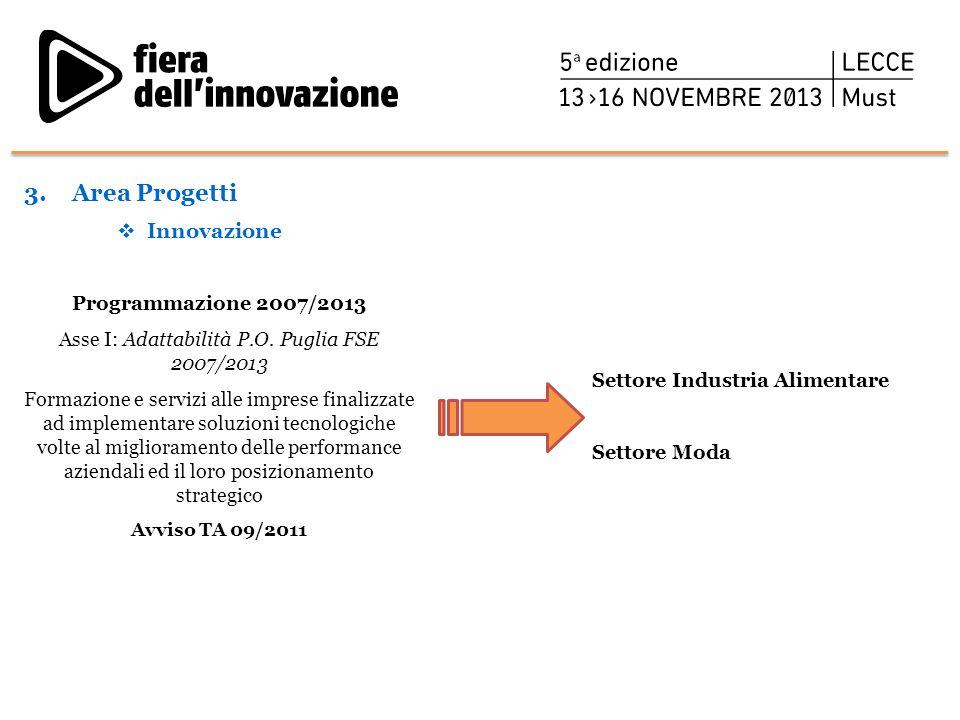 Programmazione 2007/2013 Asse I: Adattabilità P.O. Puglia FSE 2007/2013 Formazione e servizi alle imprese finalizzate ad implementare soluzioni tecnol