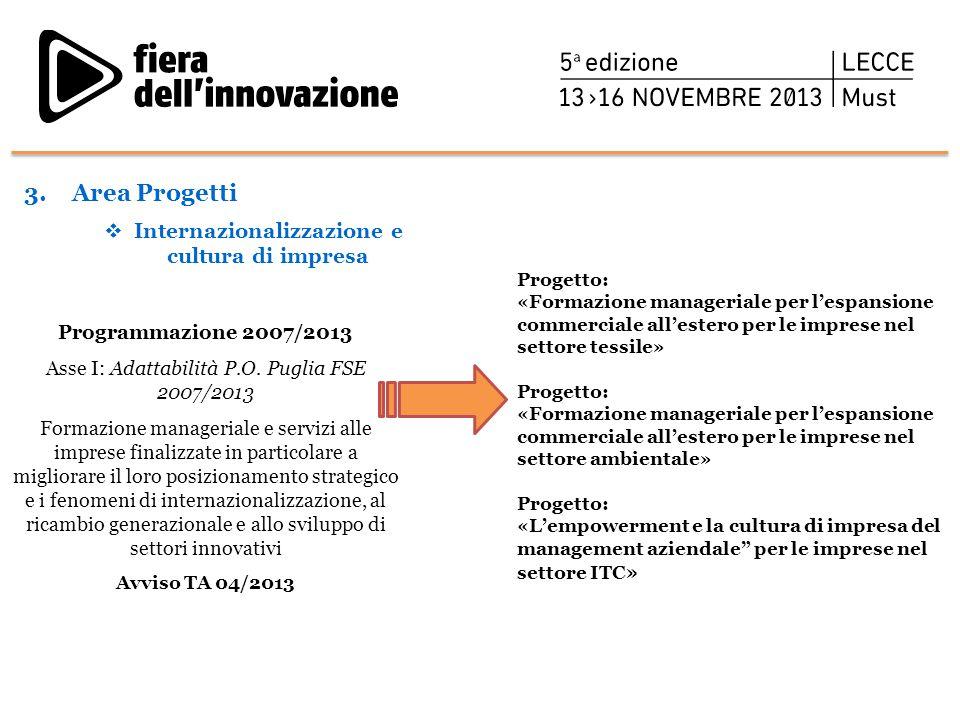 Programmazione 2007/2013 Asse I: Adattabilità P.O. Puglia FSE 2007/2013 Formazione manageriale e servizi alle imprese finalizzate in particolare a mig