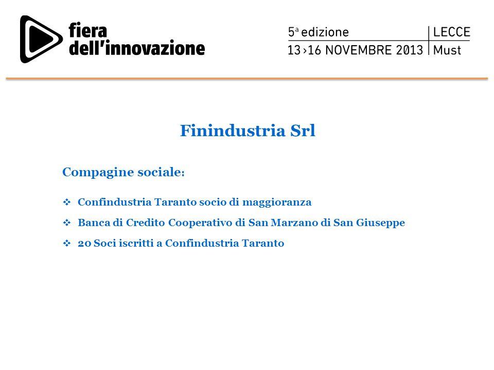 Finindustria Srl Compagine sociale :  Confindustria Taranto socio di maggioranza  Banca di Credito Cooperativo di San Marzano di San Giuseppe  20 S