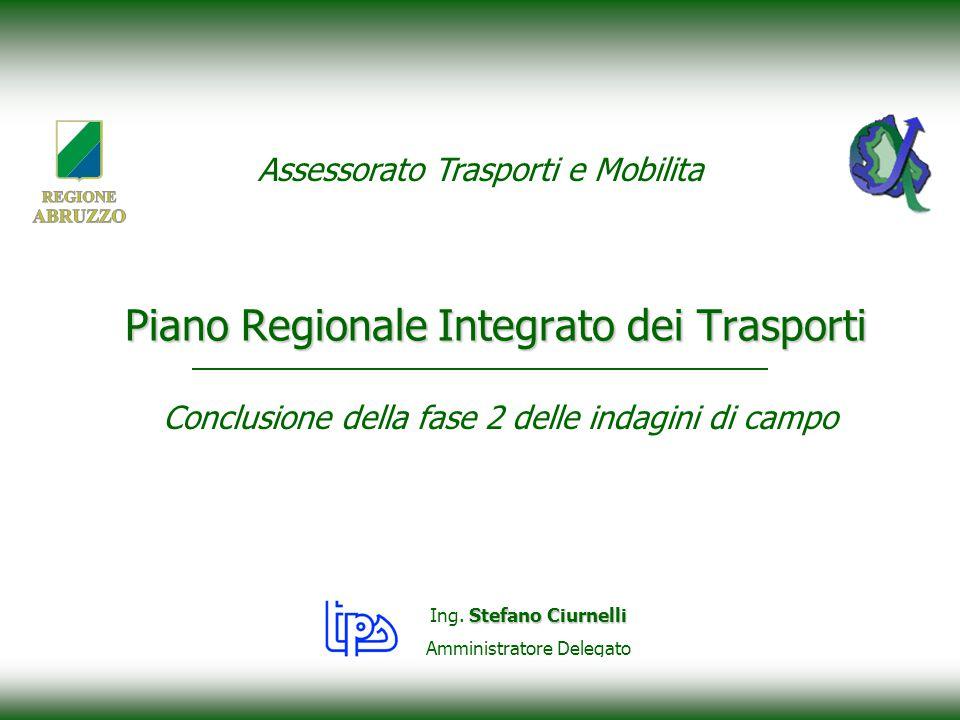 Conclusione della fase 2 delle indagini di campo Piano Regionale Integrato dei Trasporti Stefano Ciurnelli Ing.
