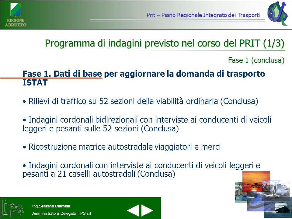 Prit – Piano Regionale Integrato dei Trasporti Ing.Stefano Ciurnelli Amministratore Delegato TPS srl Programma di indagini previsto nel corso del PRIT (1/3) Fase 1.