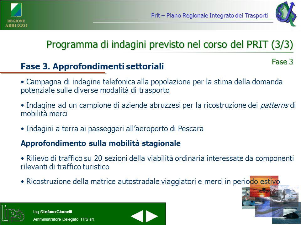 Prit – Piano Regionale Integrato dei Trasporti Ing.Stefano Ciurnelli Amministratore Delegato TPS srl Programma di indagini previsto nel corso del PRIT (3/3) Fase 3.