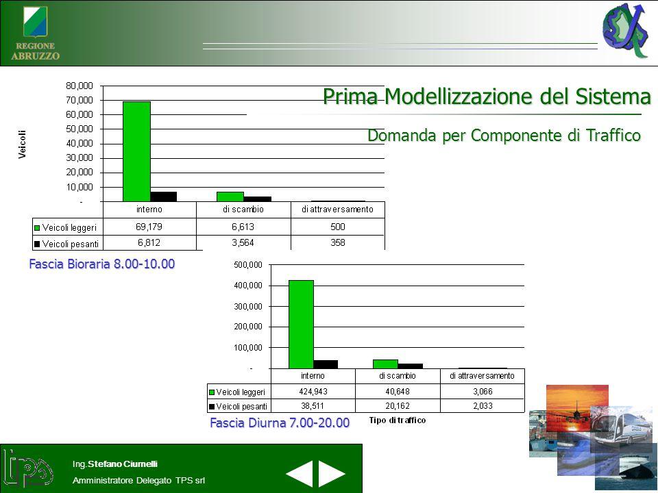 Prima Modellizzazione del Sistema Ing.Stefano Ciurnelli Amministratore Delegato TPS srl Domanda per Componente di Traffico Fascia Diurna 7.00-20.00 Fascia Bioraria 8.00-10.00