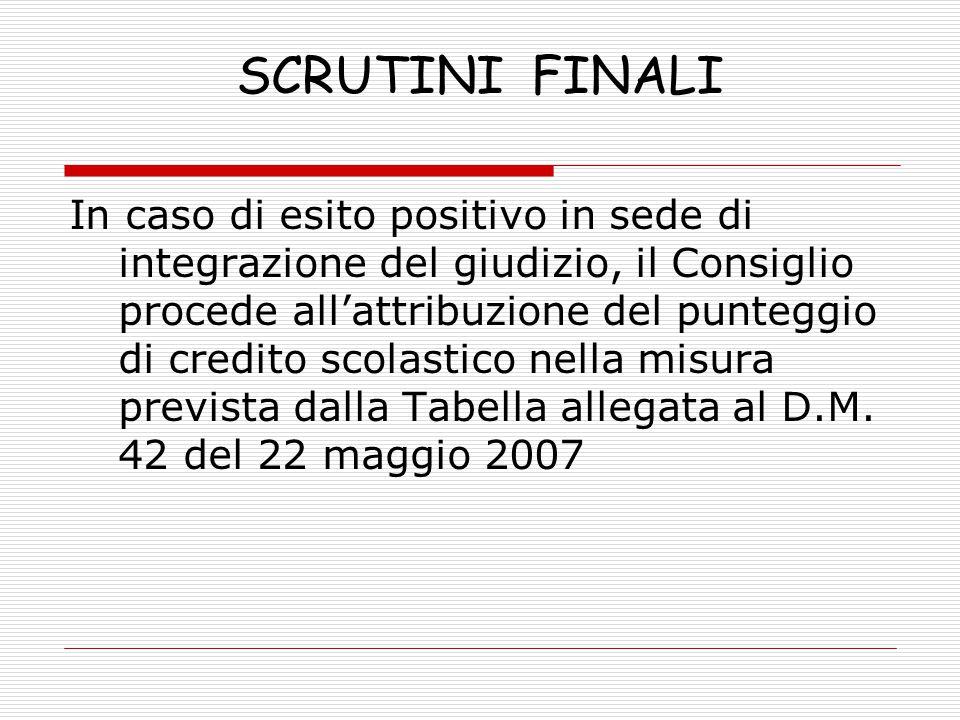 SCRUTINI FINALI In caso di esito positivo in sede di integrazione del giudizio, il Consiglio procede all'attribuzione del punteggio di credito scolast