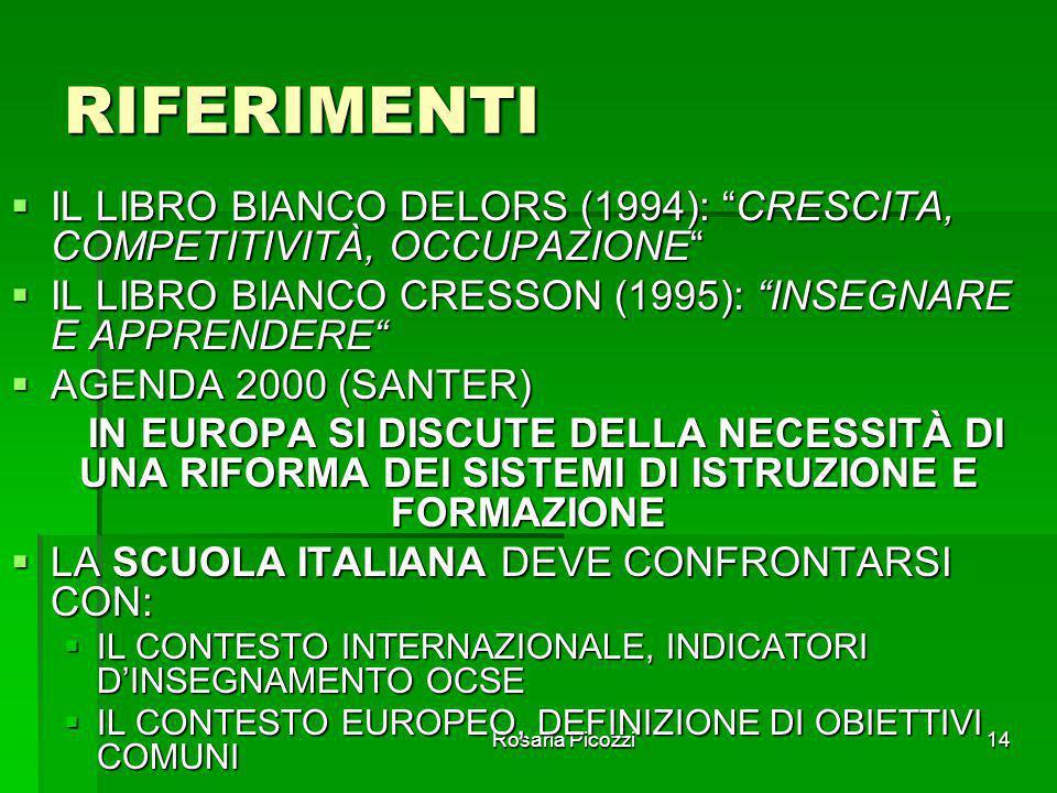 Rosaria Picozzi13 CONCLUSIONI DEI SAGGI IN TALE SCENARIO I SAGGI PRIVILEGIARONO PIÙ GLI ASPETTI RELATIVI ALLA CRESCITA CONSAPEVOLE E RESPONSABILE DELL
