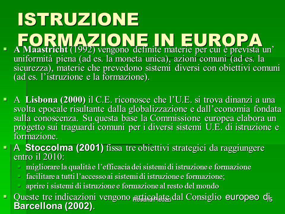 """Rosaria Picozzi14 RIFERIMENTI  IL LIBRO BIANCO DELORS (1994): """"CRESCITA, COMPETITIVITÀ, OCCUPAZIONE""""  IL LIBRO BIANCO CRESSON (1995): """"INSEGNARE E A"""