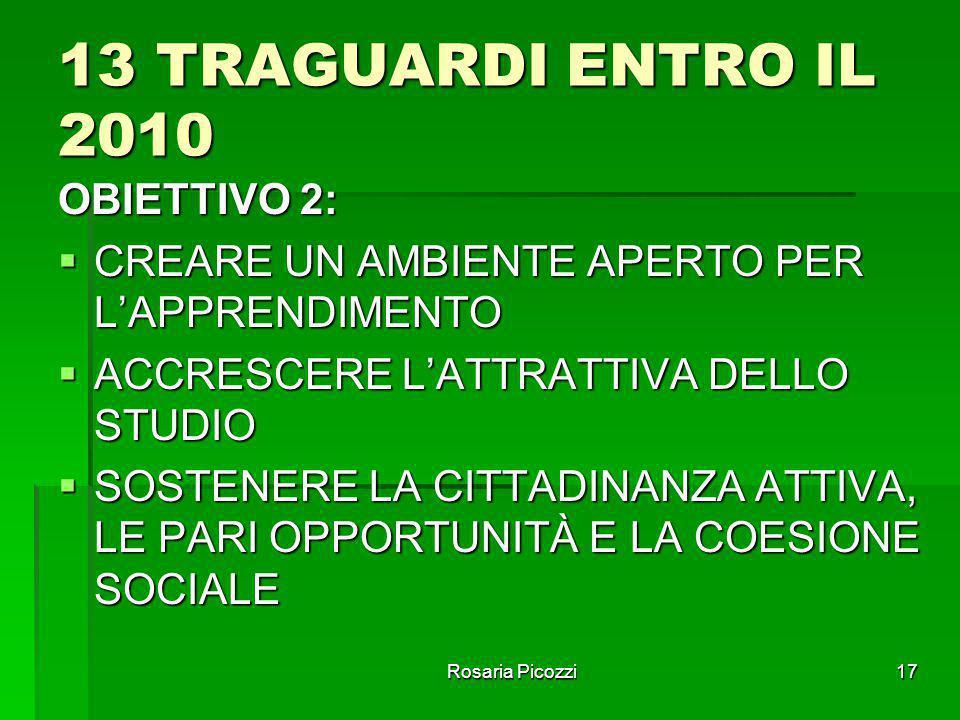 Rosaria Picozzi16 13 TRAGUARDI ENTRO IL 2010 OBIETTIVO 1:  MIGLIORARE L'ISTRUZIONE E LA FORMAZIONE PER INSEGNANTI E FORMATORI  SVILUPPARE LE COMPETE