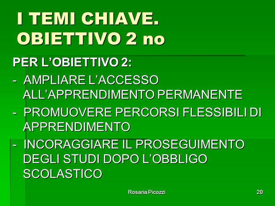 Rosaria Picozzi19 I TEMI CHIAVE OBIETTIVO n.1 PER CIASCUN OBIETTIVO, NEL QUADRO DELLE SUE ARTICOLAZIONI, SONO STATI INDIVIDUATI 42 TEMI CHIAVE CON I R