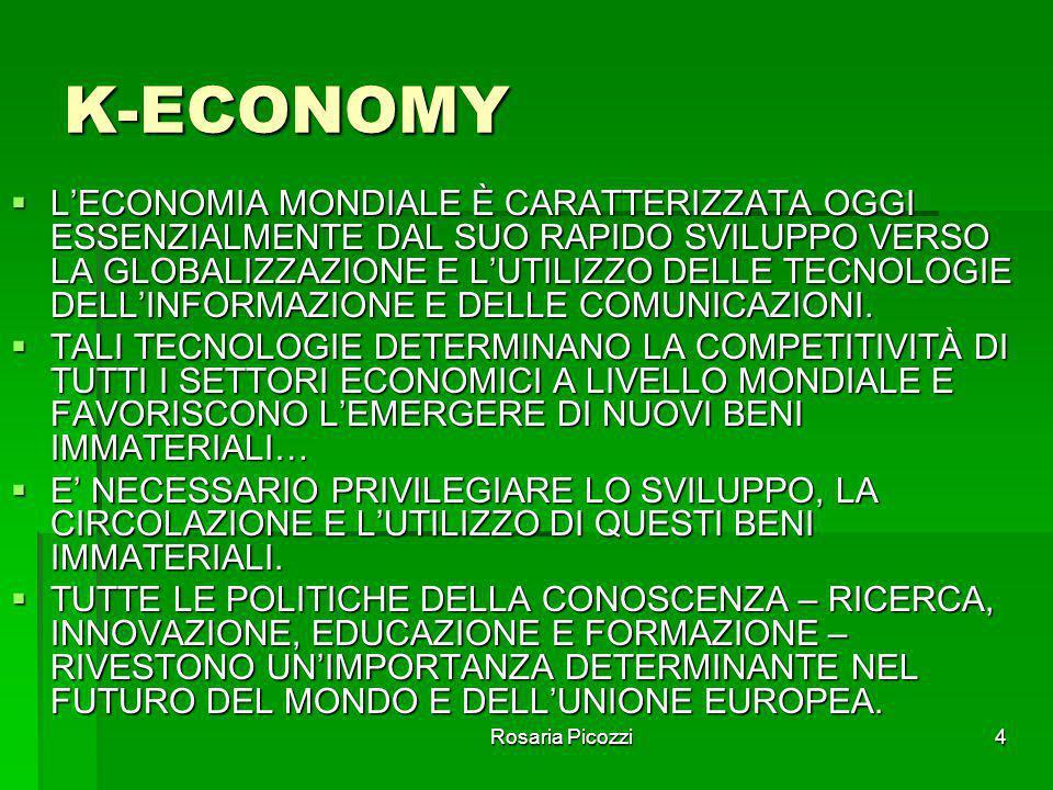 Rosaria Picozzi4 K-ECONOMY  L'ECONOMIA MONDIALE È CARATTERIZZATA OGGI ESSENZIALMENTE DAL SUO RAPIDO SVILUPPO VERSO LA GLOBALIZZAZIONE E L'UTILIZZO DELLE TECNOLOGIE DELL'INFORMAZIONE E DELLE COMUNICAZIONI.