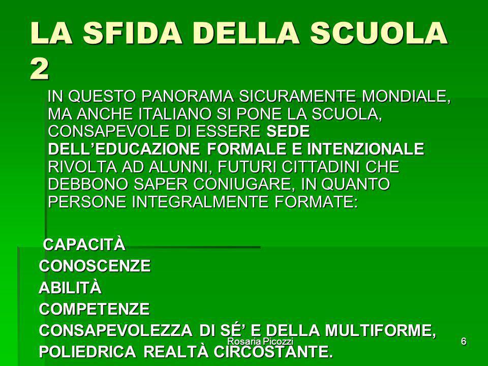 Rosaria Picozzi6 LA SFIDA DELLA SCUOLA 2 IN QUESTO PANORAMA SICURAMENTE MONDIALE, MA ANCHE ITALIANO SI PONE LA SCUOLA, CONSAPEVOLE DI ESSERE SEDE DELL'EDUCAZIONE FORMALE E INTENZIONALE RIVOLTA AD ALUNNI, FUTURI CITTADINI CHE DEBBONO SAPER CONIUGARE, IN QUANTO PERSONE INTEGRALMENTE FORMATE: IN QUESTO PANORAMA SICURAMENTE MONDIALE, MA ANCHE ITALIANO SI PONE LA SCUOLA, CONSAPEVOLE DI ESSERE SEDE DELL'EDUCAZIONE FORMALE E INTENZIONALE RIVOLTA AD ALUNNI, FUTURI CITTADINI CHE DEBBONO SAPER CONIUGARE, IN QUANTO PERSONE INTEGRALMENTE FORMATE: CAPACITÀ CAPACITÀ CONOSCENZE CONOSCENZE ABILITÀ ABILITÀ COMPETENZE COMPETENZE CONSAPEVOLEZZA DI SÉ' E DELLA MULTIFORME, CONSAPEVOLEZZA DI SÉ' E DELLA MULTIFORME, POLIEDRICA REALTÀ CIRCOSTANTE.