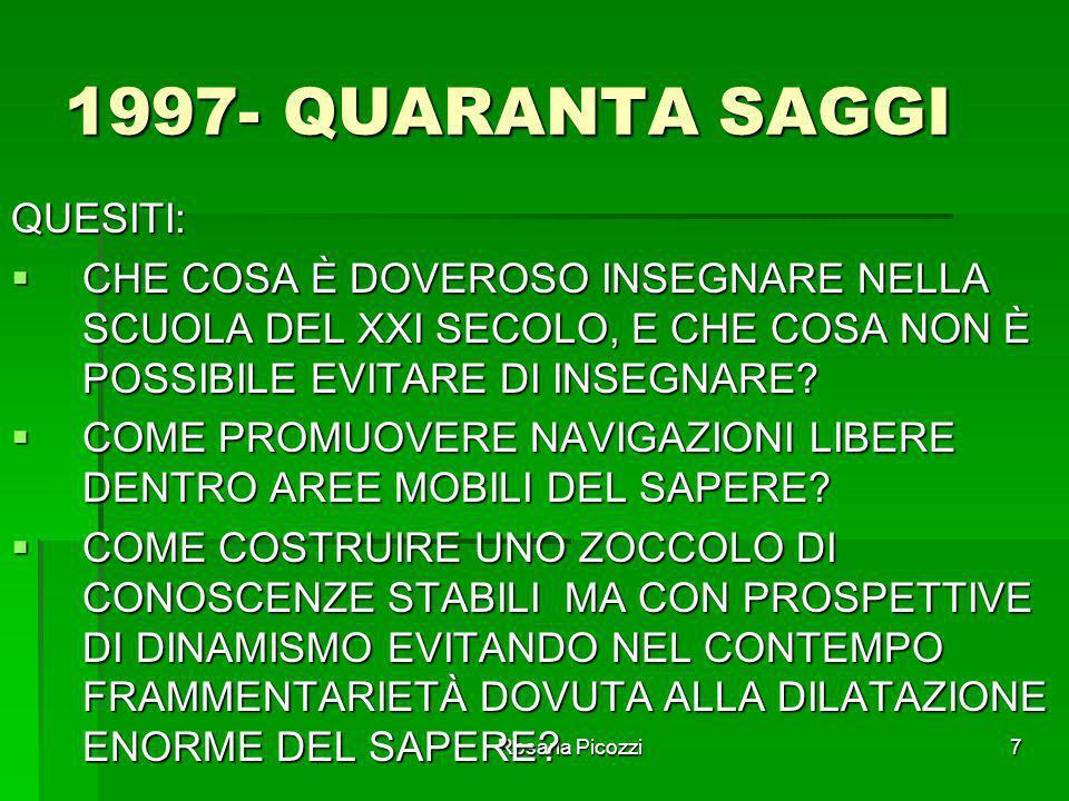 Rosaria Picozzi7 1997- QUARANTA SAGGI QUESITI:  CHE COSA È DOVEROSO INSEGNARE NELLA SCUOLA DEL XXI SECOLO, E CHE COSA NON È POSSIBILE EVITARE DI INSEGNARE.
