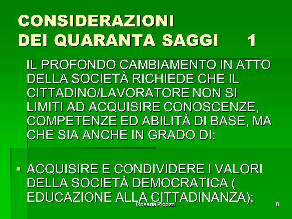 Rosaria Picozzi7 1997- QUARANTA SAGGI QUESITI:  CHE COSA È DOVEROSO INSEGNARE NELLA SCUOLA DEL XXI SECOLO, E CHE COSA NON È POSSIBILE EVITARE DI INSE
