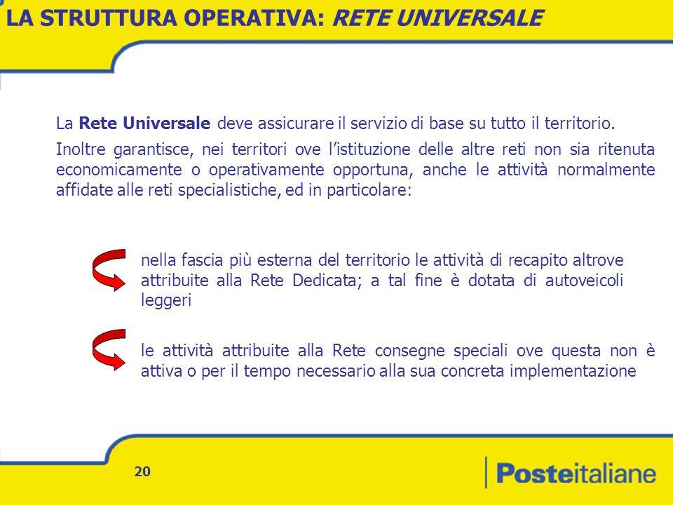 20 La Rete Universale deve assicurare il servizio di base su tutto il territorio.