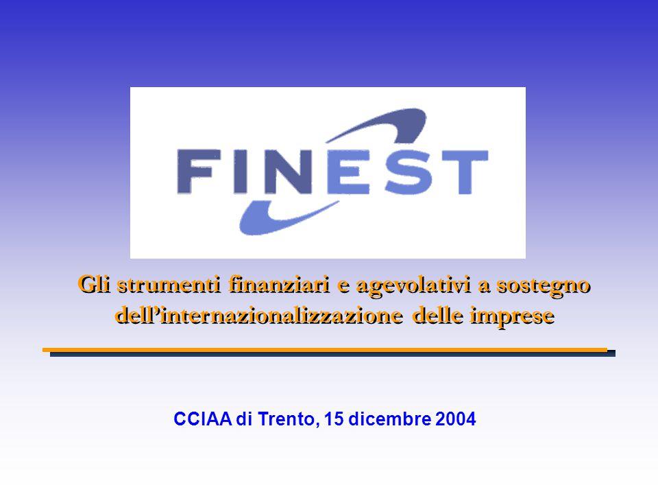 Gli strumenti finanziari e agevolativi a sostegno dell'internazionalizzazione delle imprese CCIAA di Trento, 15 dicembre 2004