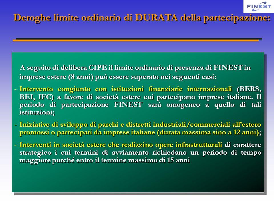 Deroghe limite ordinario di DURATA della partecipazione: A seguito di delibera CIPE il limite ordinario di presenza di FINEST in imprese estere (8 ann