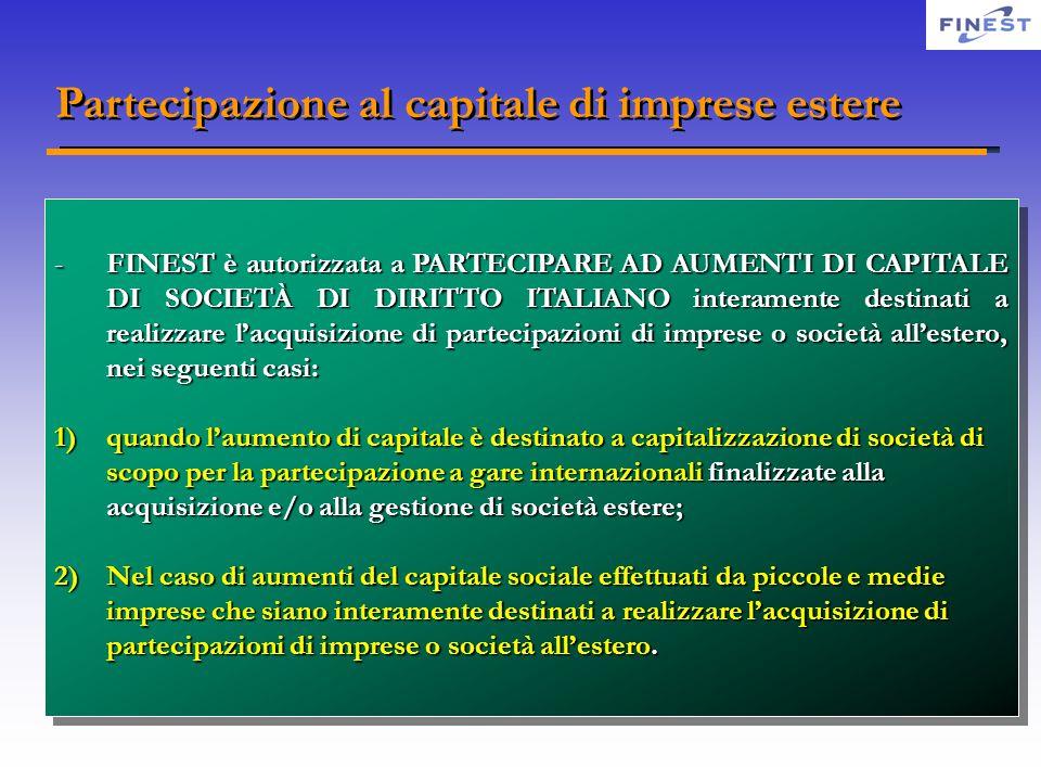 Partecipazione al capitale di imprese estere -FINEST è autorizzata a PARTECIPARE AD AUMENTI DI CAPITALE DI SOCIETÀ DI DIRITTO ITALIANO interamente des