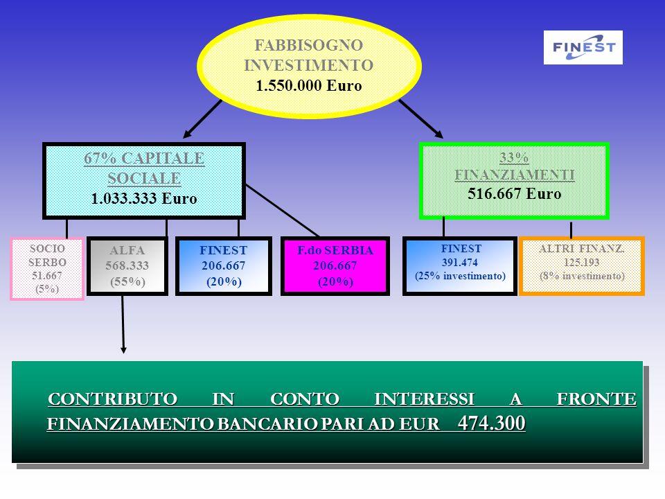 FABBISOGNO INVESTIMENTO 1.550.000 Euro 67% CAPITALE SOCIALE 1.033.333 Euro 33% FINANZIAMENTI 516.667 Euro SOCIO SERBO 51.667 (5%) ALFA 568.333 (55%) FINEST 206.667 (20%) FINEST 391.474 (25% investimento) ALTRI FINANZ.