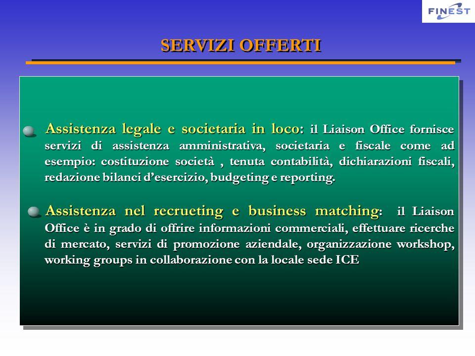 SERVIZI OFFERTI Assistenza legale e societaria in loco: il Liaison Office fornisce servizi di assistenza amministrativa, societaria e fiscale come ad