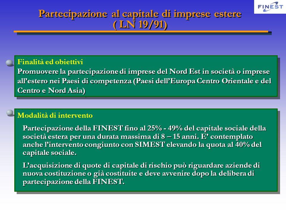 Partecipazione al capitale di imprese estere ( LN 19/91) Partecipazione al capitale di imprese estere ( LN 19/91) Finalità ed obiettivi Promuoverela p
